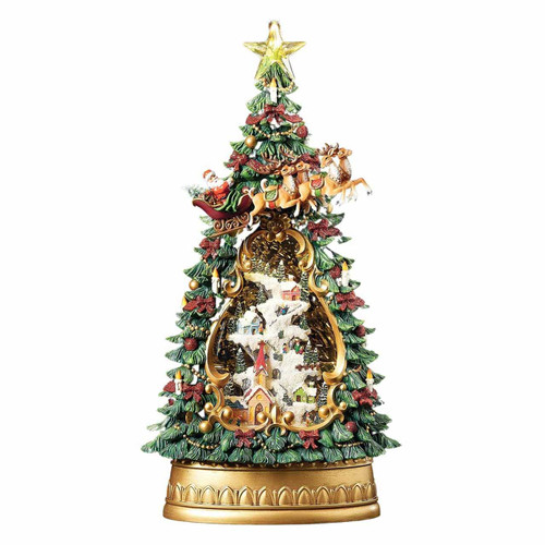 Lighted Swirl Santa Scene Tree by Roman