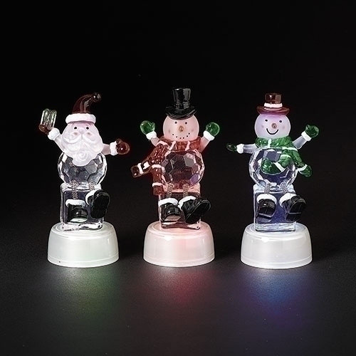 """Frosty Black Hat 4.75"""" Lighted Tri-Color Ice Figure by Roman"""
