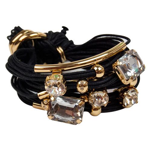 Black Gold Tubes Large Crystals Bracelet by Gillian Julius