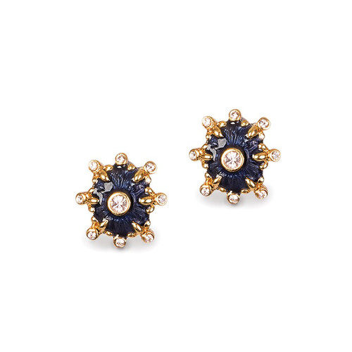 Jay Strongwater Button Post Indigo Earrings