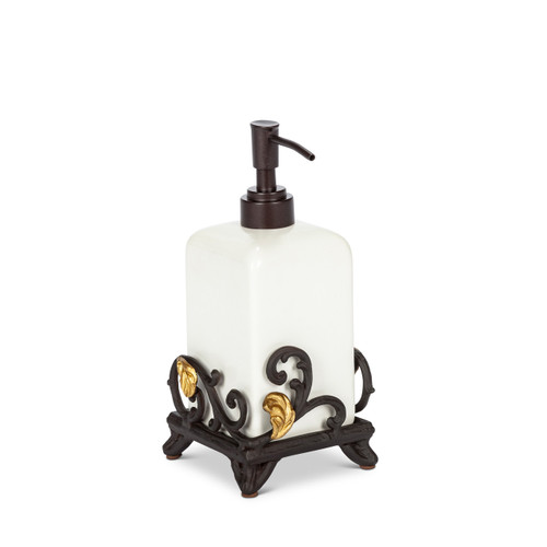 Gold Leaf Single Soap or Lotion Dispenser with Base - GG Collection