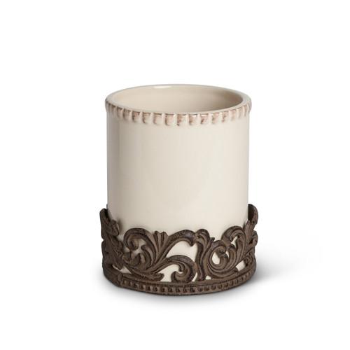 Ceramic Utensil Holder w/ Metal Base-Cream - GG Collection