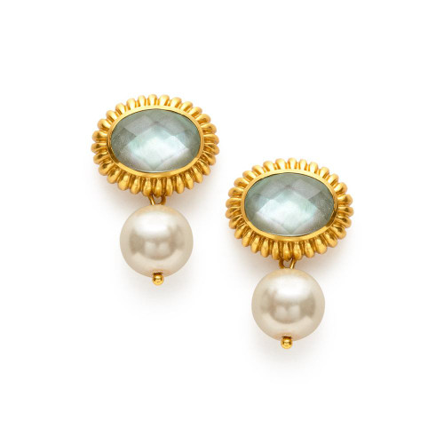Julie Vos Byzatine Earring -Iridescent Aquamarine Blue and Pearl