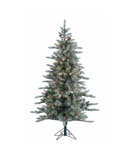 Flocked McKinley 6 ft. Pine with Pinecones by Sterling Tree