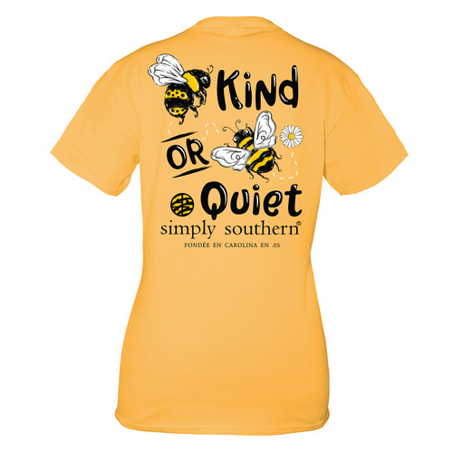 Small Mustard Bee Quiet Short Sleeve Tee by Simply Southern