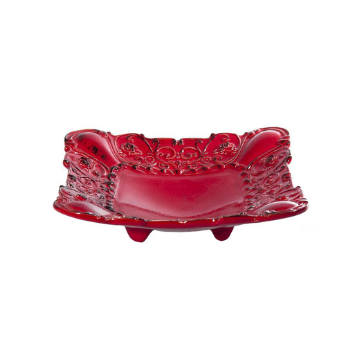 """(A) Baroque Red Square Footed Shallow Bowl 10""""W - Set of 4 - Intrada Italy - Special Order"""