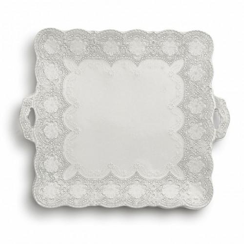 Merletto Antique Square Platter with Handles - Arte Italica