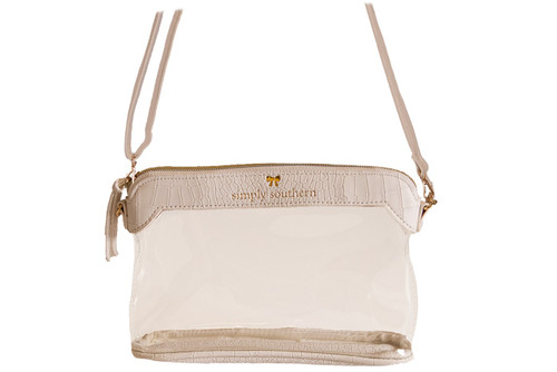 White Leather Clear Satchel by Simply Southern