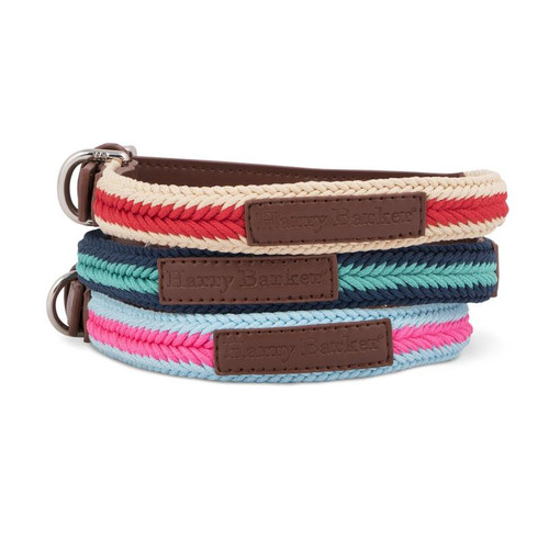 Large Teal & Dark Blue Braided Rope Dog Collar by Harry Barker