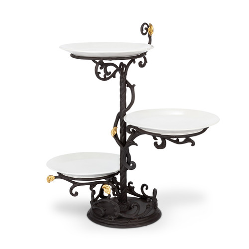Gold Leaf 3-Tier Server with Plates - GG Collection
