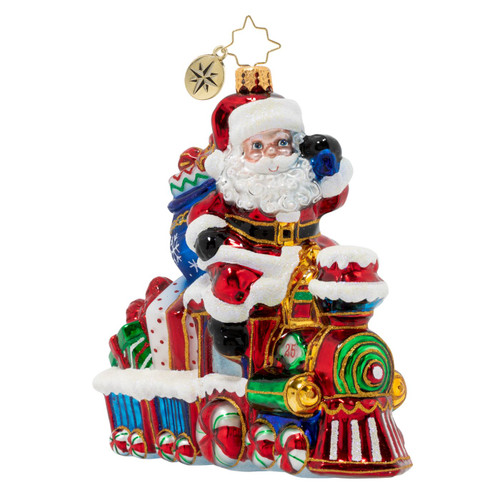 On The Tracks Santa Ornament by Christopher Radko -