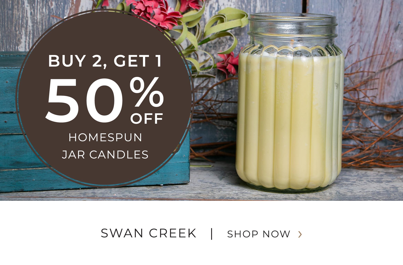 swan Creek - Homespun Jar Candles - Buy 2 Get 1 50 Percent OFF