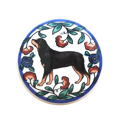 Rottweiler wine stopper, handmade by Shepherd's Grove Studio, CA.