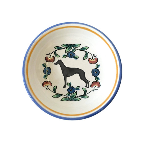 Black Greyhound ring dish / dipping bowl.  Handmade by shepherds-grove.com