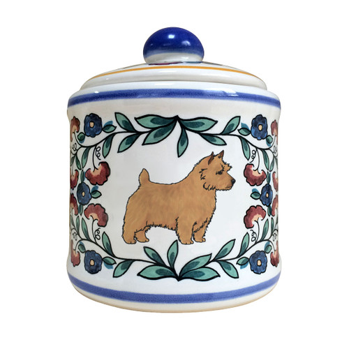 Handmade tan Norwich Terrier sugar bowl by shepherds-grove.com