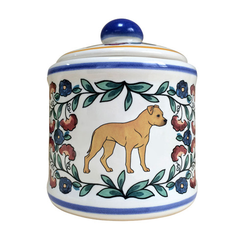 Handmade Tan Staffordshire Terrier sugar bowl by shepherds-grove.com