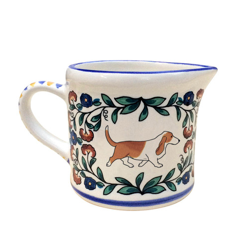 Red and White Basset Hound creamer - handmade by Shepherds Grove.