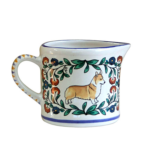Red and White Pembroke Welsh Corgi creamer - handmade by shepherds-grove.com
