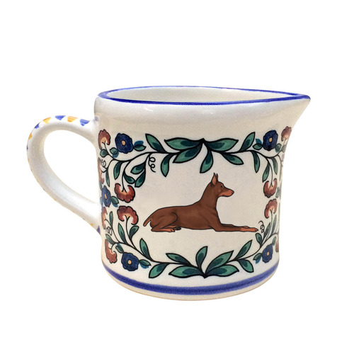 Red and Rust Doberman Pinscher Creamer - handmade by shepherds-grove.com