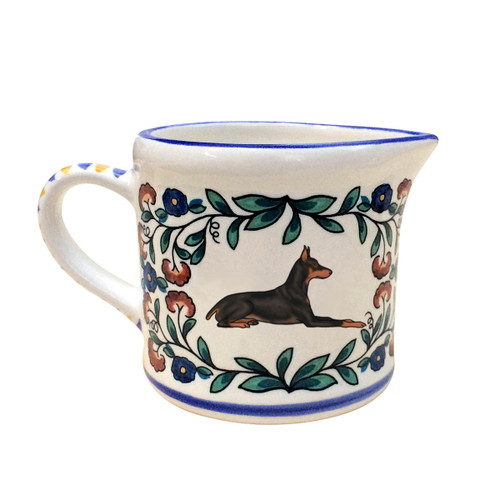 Black and Rust Doberman Pinscher Creamer - handmade by shepherds-grove.com