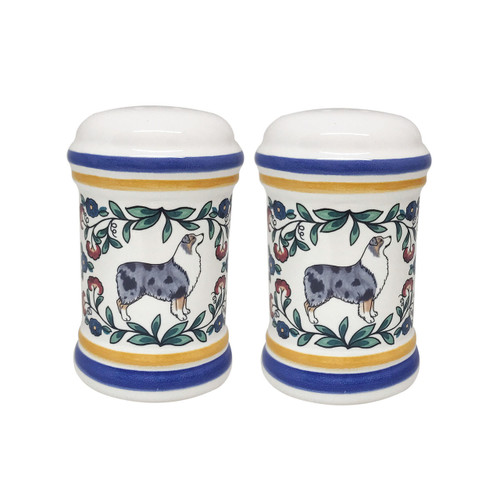 Blue Merle Australian Shepherd salt and pepper shaker set handmade by shepherds-grove.com