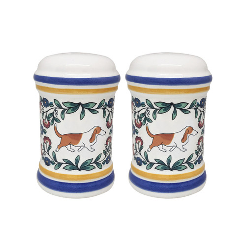 Red and white Basset Hound salt and pepper shaker set handmade by shepherds-grove.com