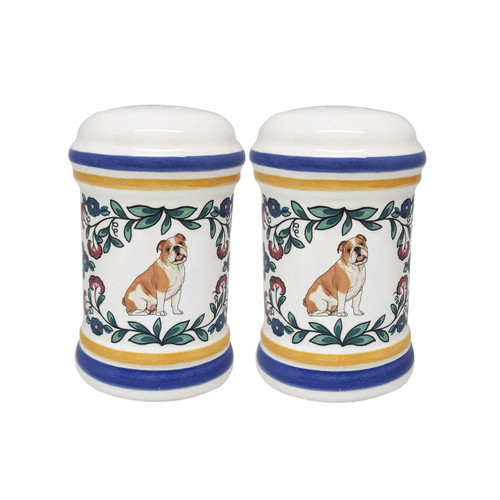 Red and white English Bulldog salt and pepper shaker set handmade by shepherds-grove.com