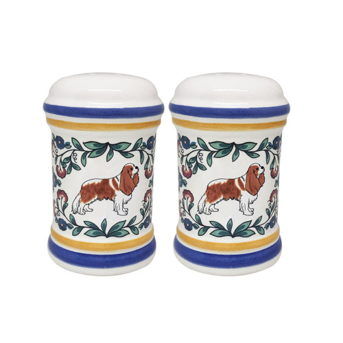 Blenheim Cavalier King Charles Spaniel salt and pepper shaker set handmade by shepherds-grove.com