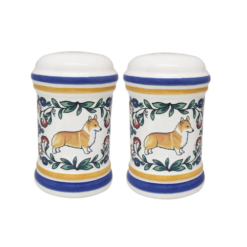 Red and White Pembroke Welsh Corgi salt and pepper shaker set - handmade by shepherds-grove.com