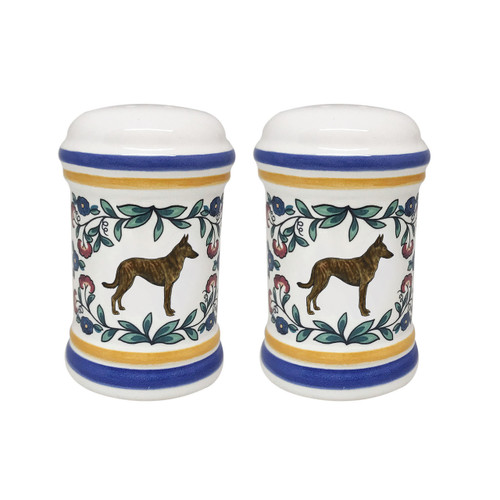 Dutch Shepherd salt and pepper shaker set - handmade by shepherds-grove.com