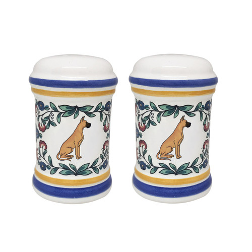 Tan Great Dane salt and pepper shaker set - handmade by shepherds-grove.com