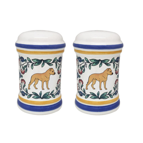 Tan Staffordshire Terrier salt and pepper shaker set - handmade by shepherds-grove.com