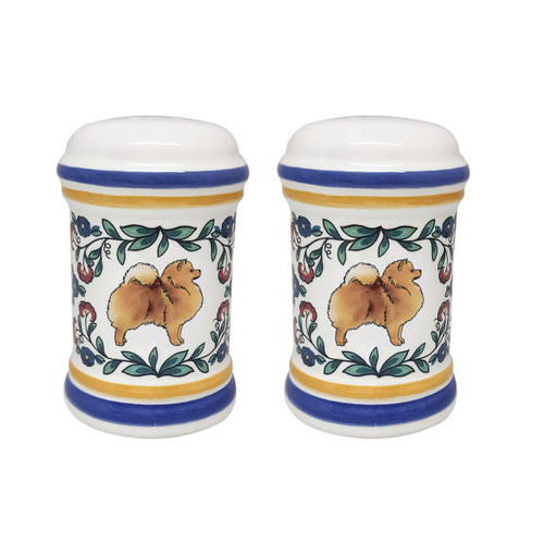Red Pomeranian salt and pepper shaker set - handmade by shepherds-grove.com