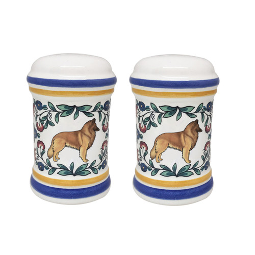 Belgian Tervuren salt and pepper shaker set - handmade by shepherds-grove.com