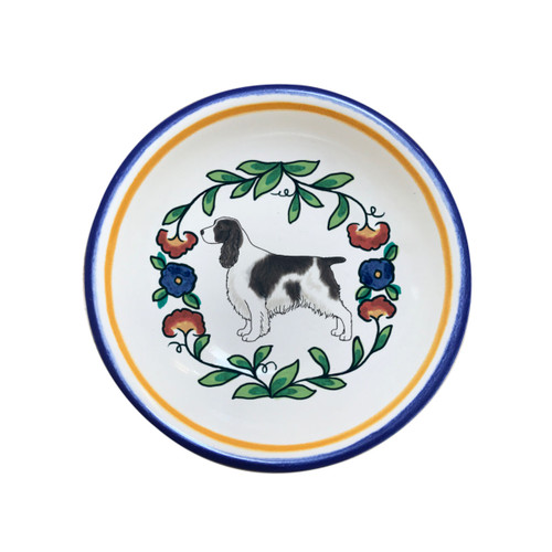 Black and White English Springer Spaniel Christmas ring dish from shepherds-grove.com