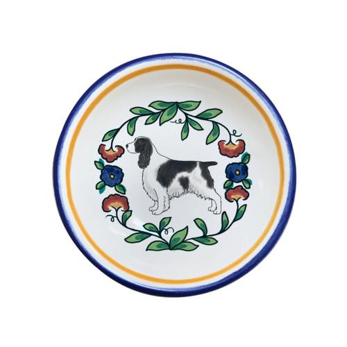 Black and White English Springer Spaniel Christmas ring dish from shepherds-grove.com