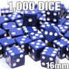 1000 blue opaque dice - Bulk gaming dice