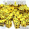 1000 yellow opaque dice - Bulk gaming dice