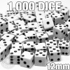 1000 white 12mm opaque dice - Bulk gaming dice