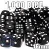 1000 black opaque round-corner dice - Bulk gaming dice