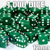 1000 green 12mm opaque dice - Bulk gaming dice