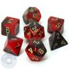 7-piece Gemini dice set - D&D dice - Black and red