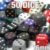 Assorted dice - 50 16mm opaque dice