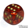 Scarlet Scarab 6-sided dice with gold spots