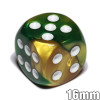 Gemini d6 dice - Gold and green with white spots
