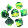 Gemini dice set - D&D dice - Green and Yellow