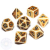 Ancient Brown 7-piece D&D dice set with black numbers