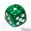 Transparent green 6-sided dice