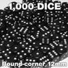 1000 black 12mm opaque round-corner dice - Bulk gaming dice