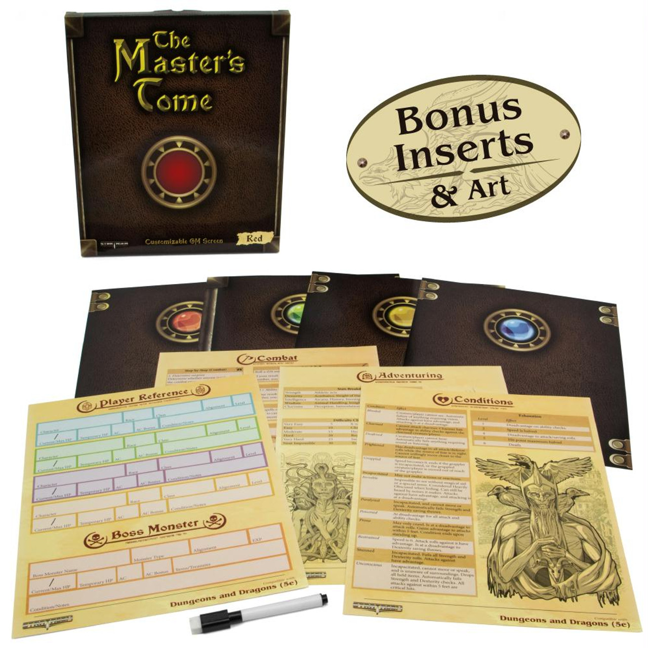 image relating to Printable Dm Screen 5e Portrait known as The Masters Tome Customizable DM Show - Crimson